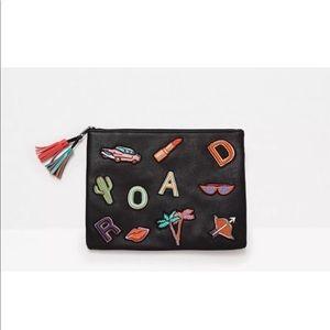 Nwot Zara black patch zippered clutch